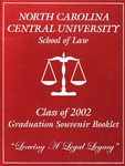 2002 Graduation Souvenir Book by North Carolina Central University School of Law