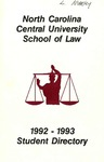 1992-1993 Student Directory by North Carolina Central University School of Law